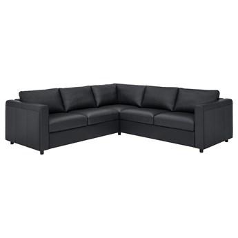 IKEA VIMLE Sofa narożna 4-osobowa, Grann/Bomstad czarny, Wysokość z poduchami oparcia: 80 cm