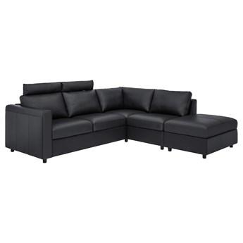 IKEA VIMLE Sofa narożna 4-osobowa, z otwartym końcem z zagłówkiem/Grann/Bomstad czarny, Wysokość z zagłówkiem: 100 cm