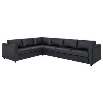 IKEA VIMLE Sofa narożna 5-osobowa, Grann/Bomstad czarny, Wysokość z poduchami oparcia: 80 cm