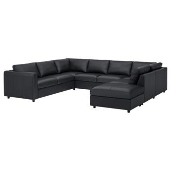 IKEA VIMLE Sofa w kształcie litery U, 6-osob, z otwartym końcem/Grann/Bomstad czarny, Wysokość z poduchami oparcia: 80 cm