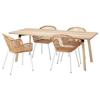 IKEA YPPERLIG / NILSOVE Stół i 4 krzesła, jesion/rattan biały, 200x90 cm