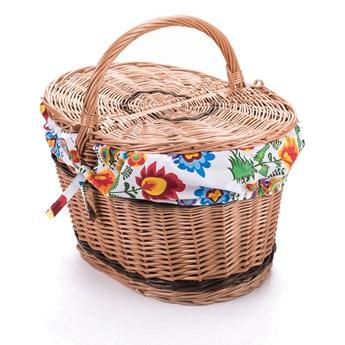 Wiklinowy kosz piknikowy owalny, na piknik, z obszyciem kosz na prezent