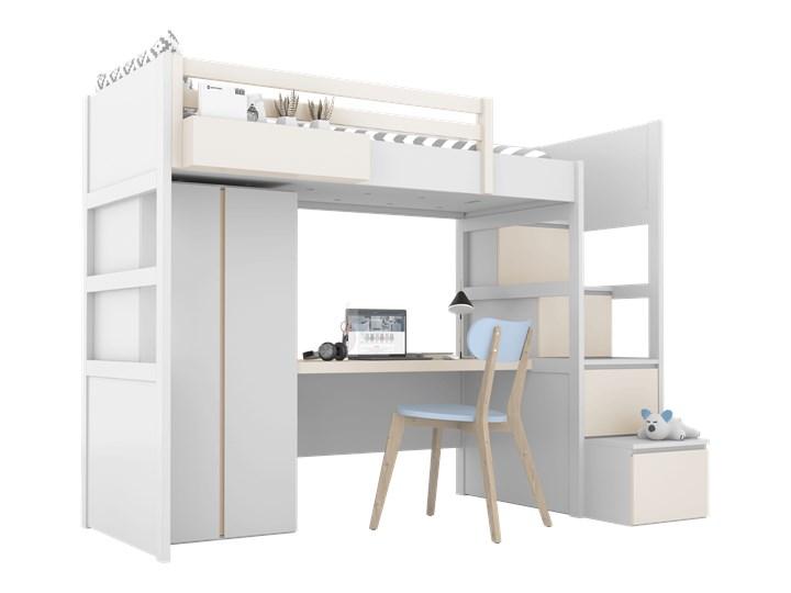 SIMONE Łóżko na antresoli S3 S , Kolor - Mastik Łóżko piętrowe z biurkiem Kolor Biały