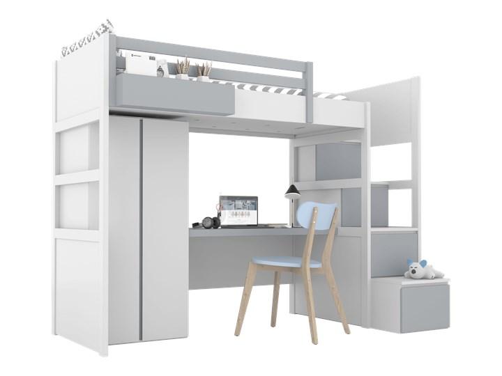 SIMONE Łóżko na antresoli S3 S , Kolor - Grafit Kategoria Łóżka dla dzieci Łóżko piętrowe z biurkiem Kolor Biały