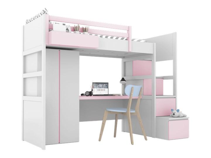 SIMONE Łóżko na antresoli S3 S , Kolor - Róż Łóżko piętrowe z biurkiem Kolor Biały Rozmiar materaca 90x200 cm