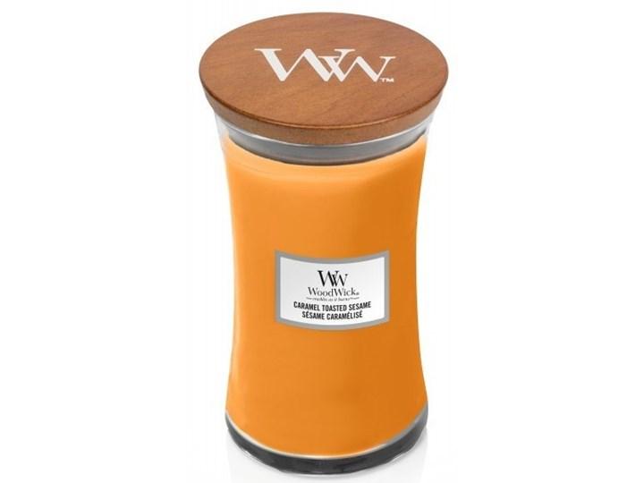 Świeczka duża WoodWick Caramel Toasted Sesame 609,5g Podgrzewacz Świeca Kategoria Świeczniki i świece Świeca zapachowa Drewno Kolor Pomarańczowy