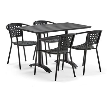 Zestaw mebli zewnętrznych PIAZZA + CAPRI, 1 kwadratowy stół + 4 czarne krzesła