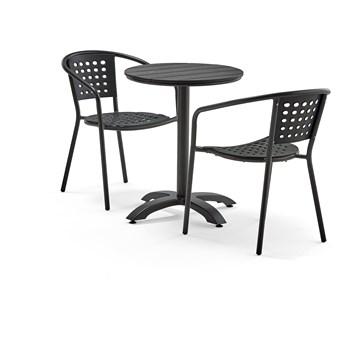 Zestaw mebli zewnętrznych PIAZZA + CAPRI, 1 okrągły stół + 2 czarne krzesła