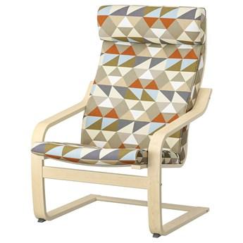 IKEA POÄNG Fotel, okl brzoz/Rockneby wielobarwny, Szerokość: 68 cm