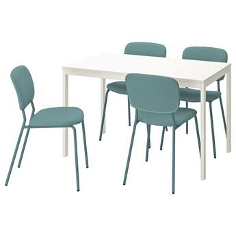IKEA VANGSTA / KARLJAN Stół i 4 krzesła, biały/turkusowy, 120/180 cm