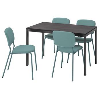 IKEA VANGSTA / KARLJAN Stół i 4 krzesła, czarny ciemnobrązowy/turkusowy, 120/180 cm