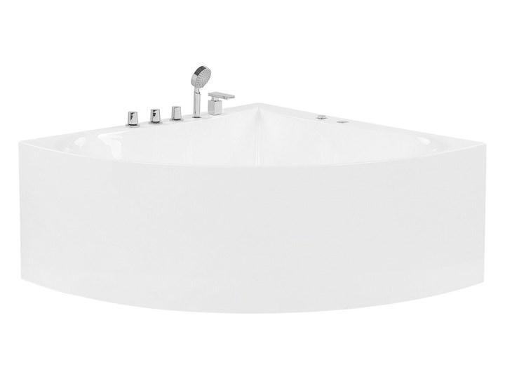 Wanna narożna z hydromasażem biała akrylowa 133 x 187 cm nowoczesna Retro Kolor Biały