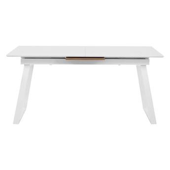 Stół do jadalni rozsuwany biały ciemne drewno skandynawski nowoczesny 8 osób kuchnia