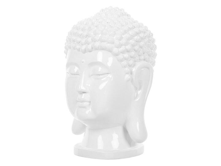 Figura dekoracyjna biała stojąca głowa Buddy 41 cm Ludzie Rośliny Tworzywo sztuczne Kolor Biały