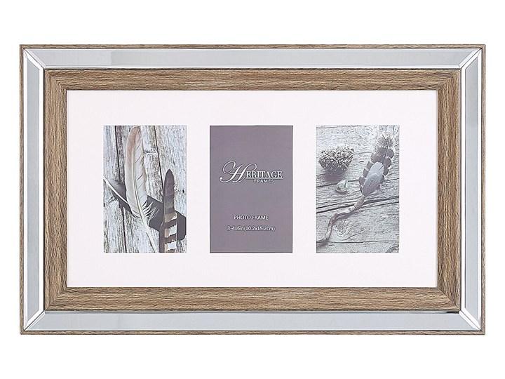 Multiramka ciemne drewno drewniana lustrzana 32 x 50 cm na zdjęcia 3 fotografie 10 x 15 cm kolaż wisząca Pomieszczenie Salon Pomieszczenie Sypialnia