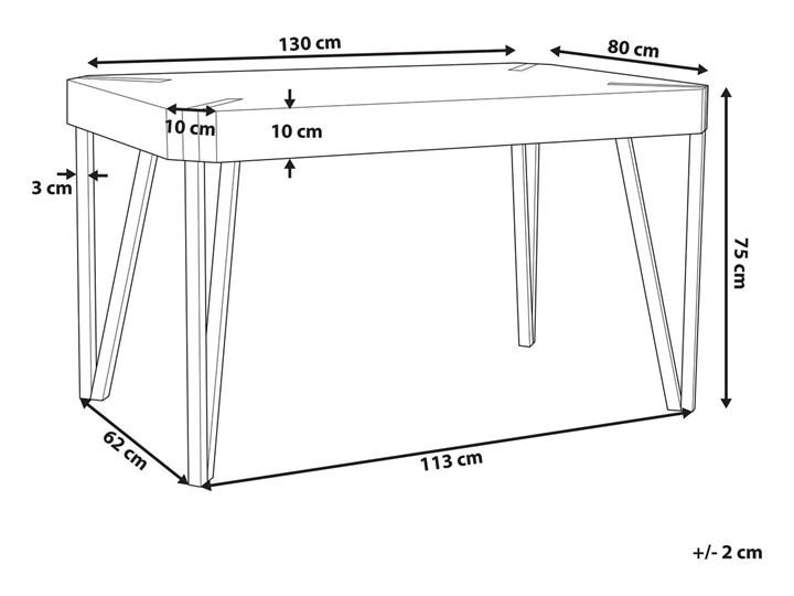 Stół do jadalni jasne drewno czarne metalowe nogi 130 x 90 cm prostokątny styl industrialny Pomieszczenie Stoły do kuchni Płyta MDF Długość 130 cm  Styl Rustykalny