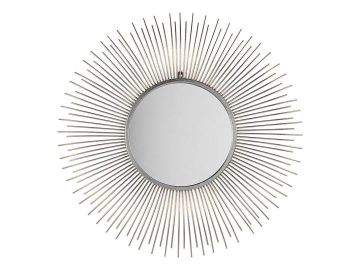 Lustro wiszące ścienne srebrne 80 cm okrągłe metalowe promienie słońca Pomieszczenie Przedpokój Lustro z ramą Kolor Srebrny