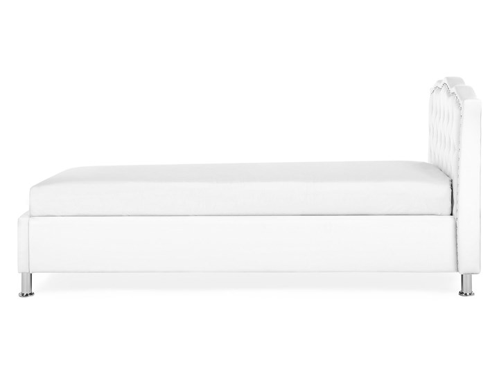 Łóżko białe ekoskóra 90 x 200 cm z pojemnikiem i stelażem ozdobne wezgłowie z kryształkami i ćwiekami Kolor Biały Łóżko tapicerowane Kategoria Łóżka do sypialni