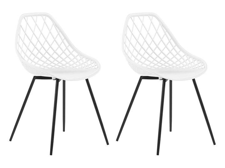 Zestaw 2 krzeseł białych tworzywo sztuczne czarne metalowe nogi styl nowoczesny skandynawski Kolor Czarny Pomieszczenie Jadalnia
