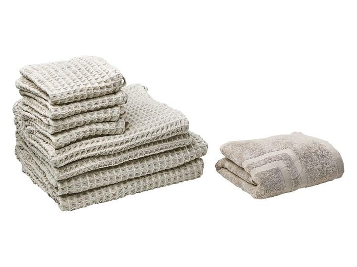 Komplet 9 ręczników beżowy bawełna zero twist ręczniki dla gości do rąk kąpielowy i mata łazienkowa Ręcznik do rąk Komplet ręczników Ręcznik kąpielowy