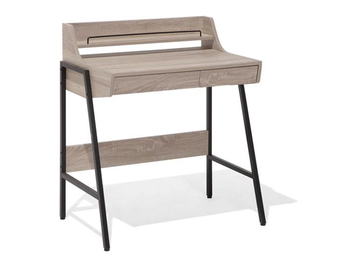 Małe biurko jasnobrązowe 73 x 48 cm z nadstawką i szufladami na stalowej ramie Drewno Biurko komputerowe Szerokość 72 cm Biurko z nadstawką Szerokość 77 cm Płyta MDF Kolor Brązowy