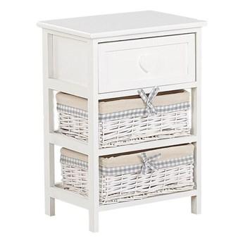 Szafka biało drewno MDF 58 x 40 cm szuflada i dwa plecione wiklinowe kosze z beżowa wyściółką stolik nocny do sypialni pokoju dziecięcego