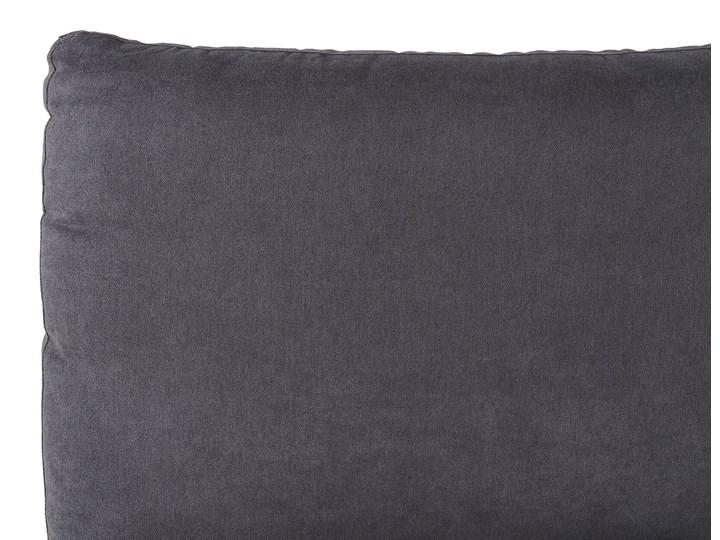 Łóżko ze stelażem ciemnoszare tapicerowane welurem 160 x 200 cm z grubym wezgłowiem nowoczesny design Kategoria Łóżka do sypialni Łóżko tapicerowane Kolor Szary