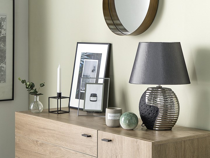 Lampka nocna czarna ze srebrnym ceramiczna ozdobna Lampa dekoracyjna Lampa nocna Lampa z kloszem Styl Nowoczesny