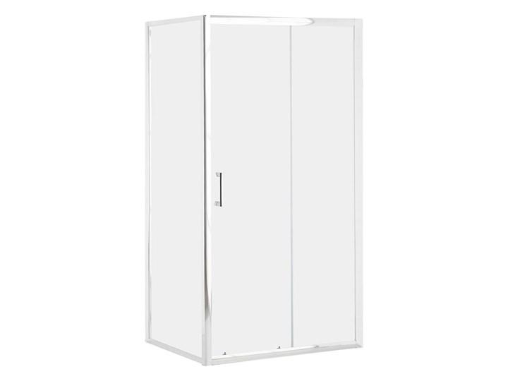 Kabina prysznicowa srebrna szkło hartowane aluminum pojedyncze drzwi 80x100x185cm nowoczesny design Rodzaj drzwi Rozsuwane Kategoria Kabiny prysznicowe