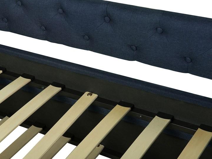 Łóżko dziecięce wysuwane ze stelażem ciemnoniebieskie tapicerowane tkaniną pikowane oparcie 90 x 200 cm Tworzywo sztuczne Drewno Rozmiar materaca 90x200 cm Kategoria Łóżka dla dzieci