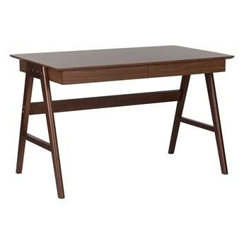 Biurko ciemne drewno okleina na drewnianych nóżkach 120 x 70 cm z szufladami styl skandynawski