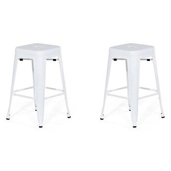 Zestaw 2 stołków barowych białych metalowych 60 cm nowoczesny loft industrialny komplet taboretów hokerów kuchennych