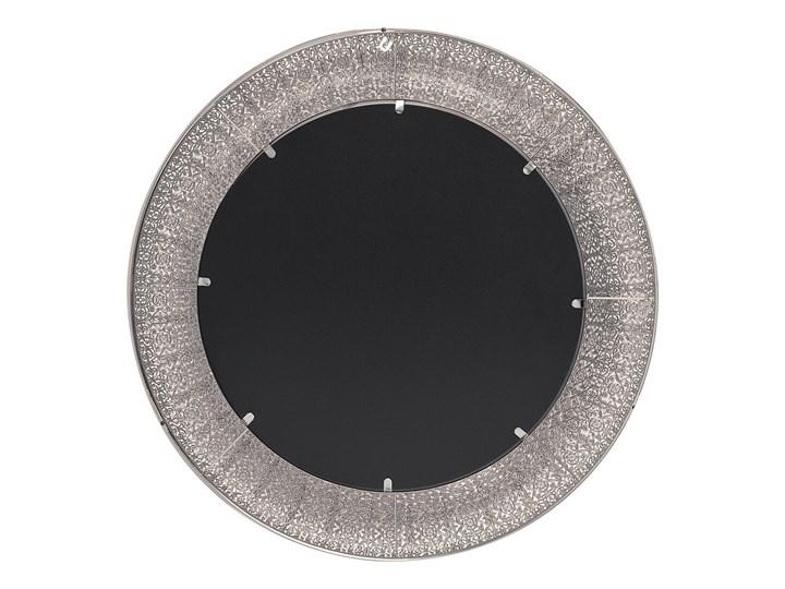 Lustro wiszące ścienne srebrne 80 cm Kolor Szary Okrągłe Lustro z ramą Kolor Srebrny