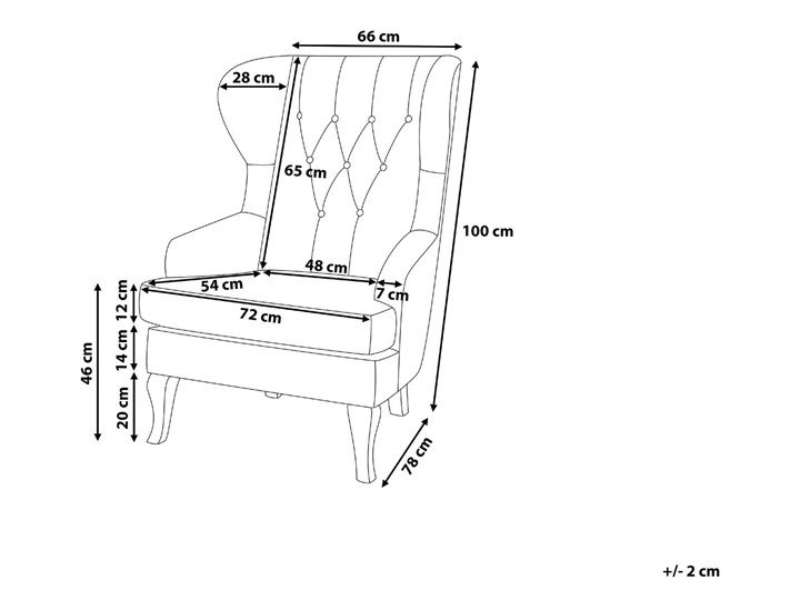 Fotel uszak beżowy tapicerowany pikowany wysokie oparcie vintage retro salon Tkanina Tworzywo sztuczne Fotel tradycyjny Drewno Fotel pikowany Głębokość 78 cm Wysokość 100 cm Szerokość 66 cm Styl Nowoczesny