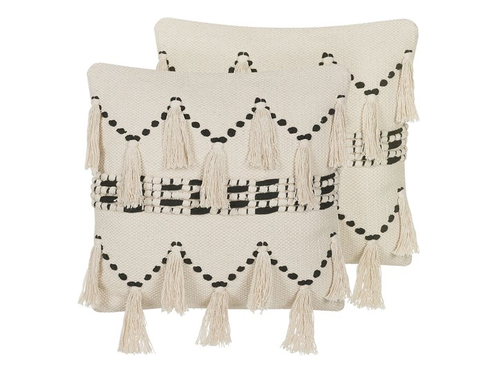 Poduszka dekoracyjna beżowa bawełniana z frędzlami 45 x 45 cm retro z wypełnieniem ozdobna akcesoria salon sypialnia 45x45 cm Kwadratowe Bawełna Kolor Beżowy