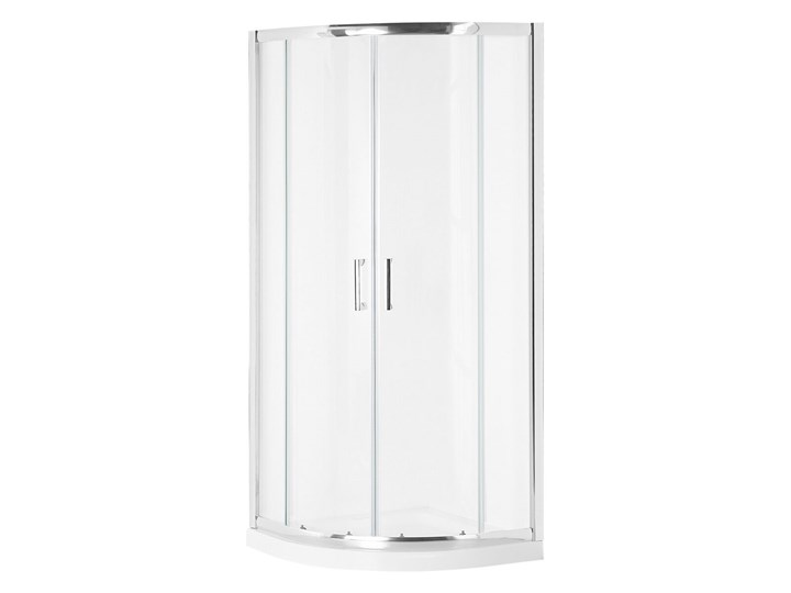 Kabina prysznicowa srebrna szkło hartowane aluminum podwójne drzwi półokrągłe 90x90x185cm nowoczesny design Rodzaj drzwi Rozsuwane Narożna Kategoria Kabiny prysznicowe