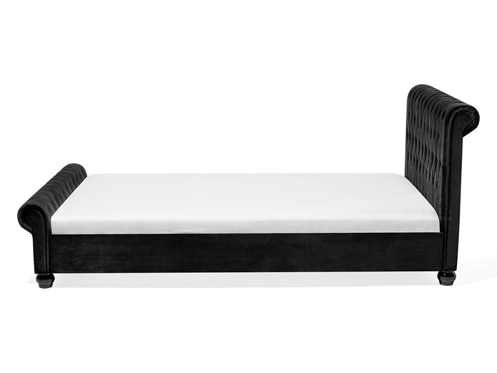 Łóżko ze stelażem czarne welurowe 160 x 200 cm z zagłówkiem pikowane styl glamour Łóżko tapicerowane Kolor Czarny