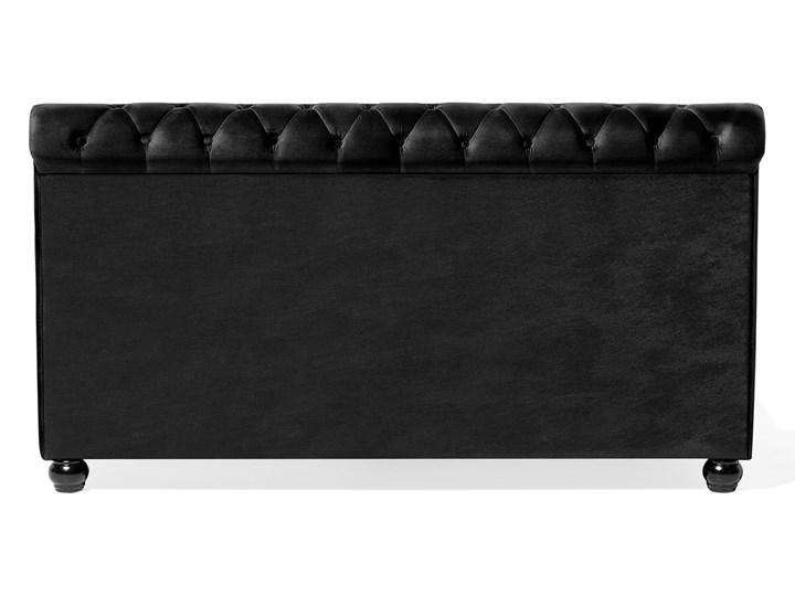 Łóżko ze stelażem czarne welurowe 160 x 200 cm z zagłówkiem pikowane styl glamour Łóżko tapicerowane Kategoria Łóżka do sypialni