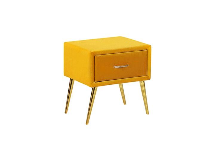Szafka nocna żółta tapicerowana welurem 1 szafka stolik nocny minimalistyczny design Metal Drewno Płyta MDF Tworzywo sztuczne Pomieszczenie Sypialnia