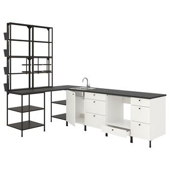 IKEA ENHET Kuchnia narożna, antracyt/biały, Wysokość szafka wisząca: 150 cm