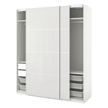 IKEA PAX / HOKKSUND Kombinacja szafy, biały/połysk jasnoszary, 200x66x236 cm