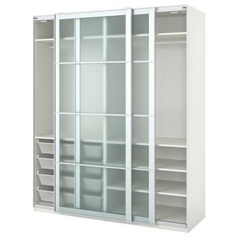 IKEA PAX Szafa, biały/Nykirke szkło matowe, kratka, 200x66x236 cm
