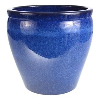 Donica szkliwiona śr. 33 cm niebieska mrozoodporna