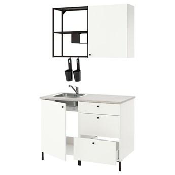 IKEA ENHET Kuchnia, antracyt/biały, 123x63.5x222 cm