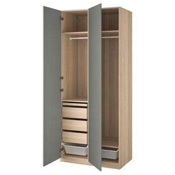 IKEA PAX / REINSVOLL Kombinacja szafy, dąb bejcowany na biało/szarozielony, 100x60x236 cm