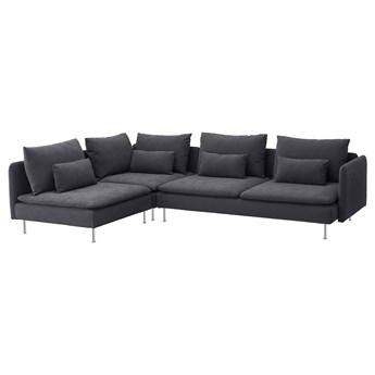 IKEA SÖDERHAMN Sofa narożna 4-osobowa, z otwartym końcem/Samsta ciemnoszary, Wysokość z poduchami oparcia: 83 cm