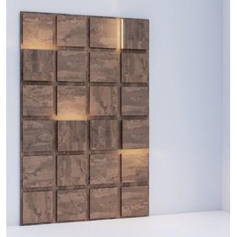 156x234 cm BLOOKi - beton rdzawy, panel 3D na ścianę z oświetleniem