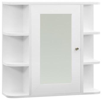 VidaXL Szafka łazienkowa z lustrem, biała, 66x17x63 cm, MDF