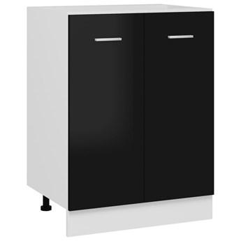 VidaXL Szafka kuchenna, wysoki połysk, czarna, 60x46x81,5 cm, płyta