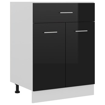 VidaXL Szafka z szufladą, wysoki połysk, czarna, 60x46x81,5 cm, płyta